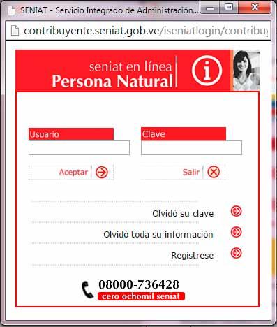Como recuperar Clave y Usuario en el portal web del Seniat