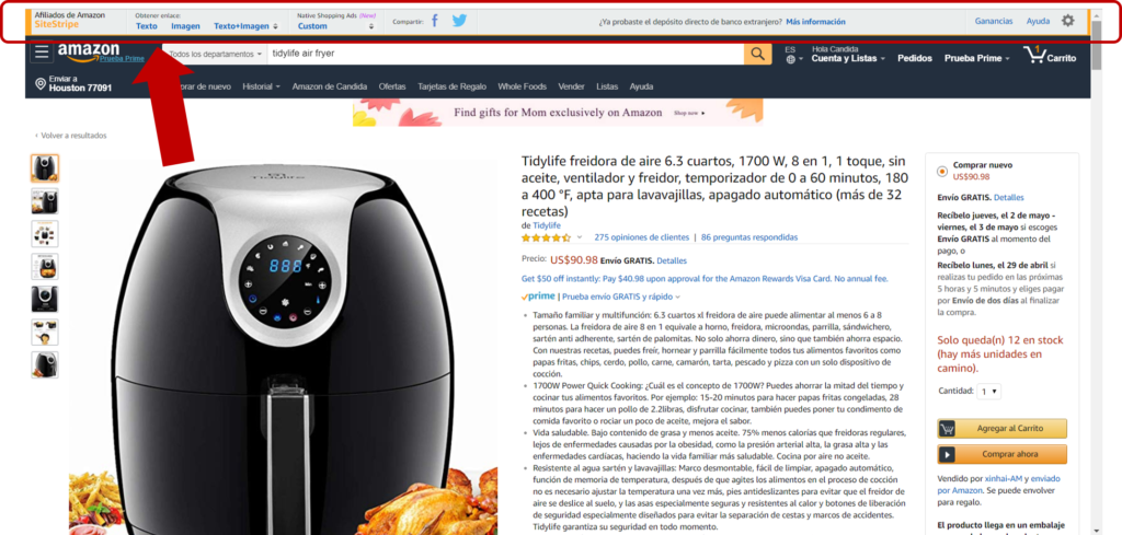 Enlaces manuales de Amazon Afiliados
