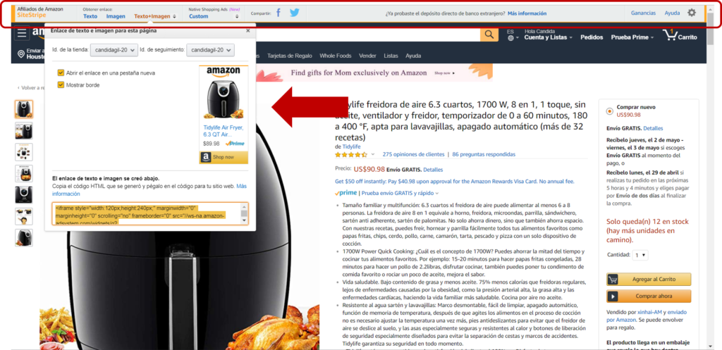 Amazon Afiliado enlaces manuales