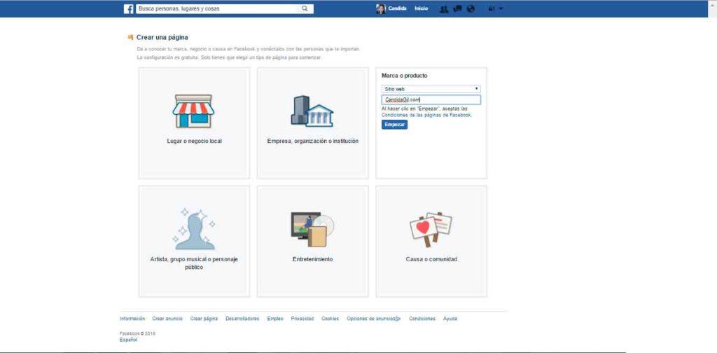 Pagina en facebook